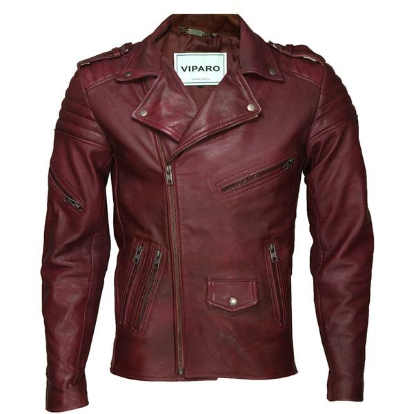 VIPARO Mens Ox Blood Red Burgundy Brando Leather Quilted Lambskin... ($335)