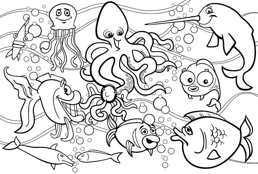 Underwater Sea Life Ocean coloring pages, Black and