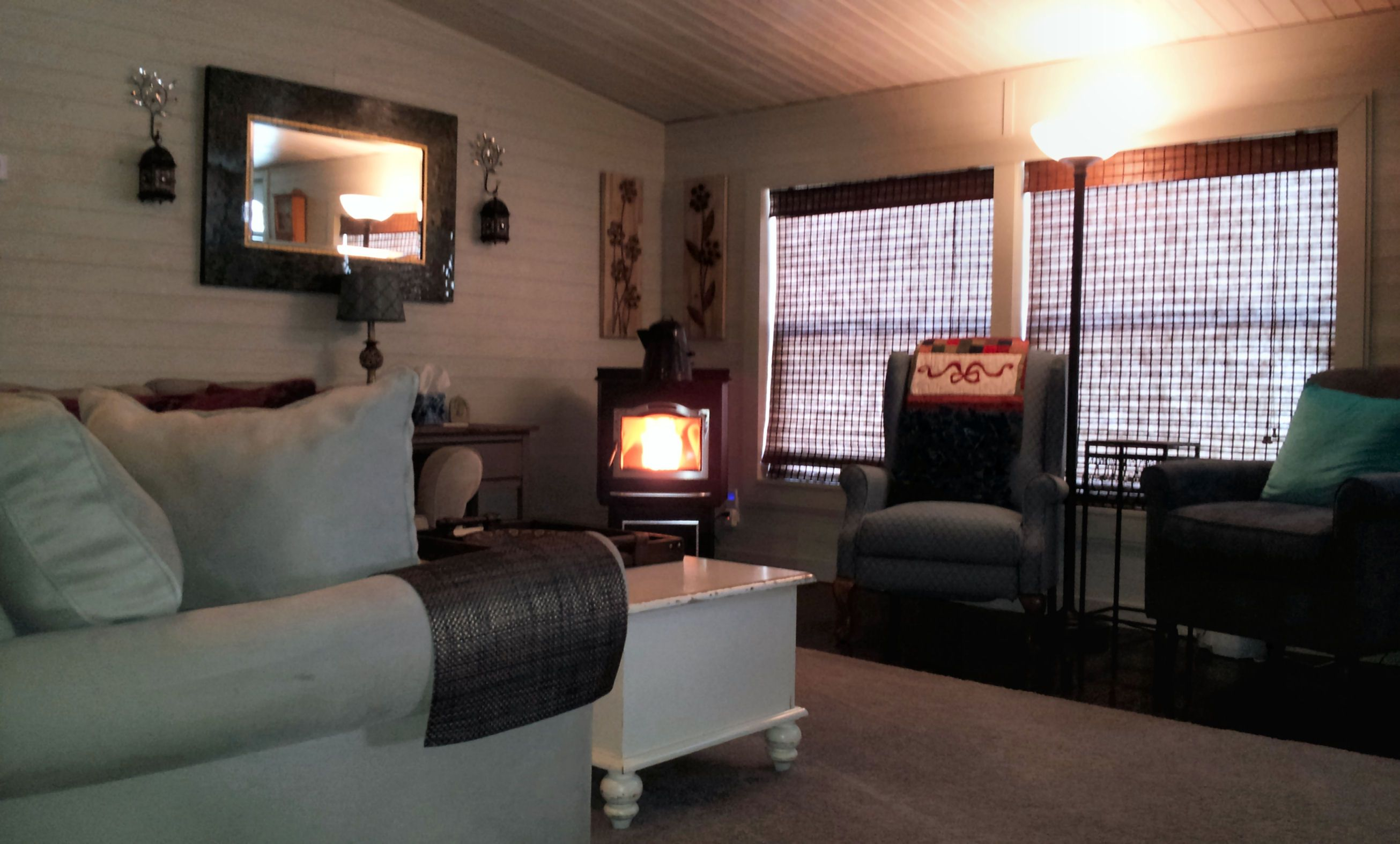 Mobile Home Makeover View Of Front With Lit Harman Pellet Stove Remodel Bedroom Mobile Home Living Room Remodeling