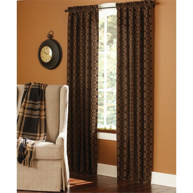 Black Campbell Lined Curtain Panels 72 X 84 Set Of 2 Country