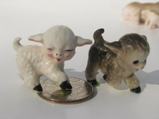 Lot Tiny Bone China Farm Animals, Farm Animal Figurines