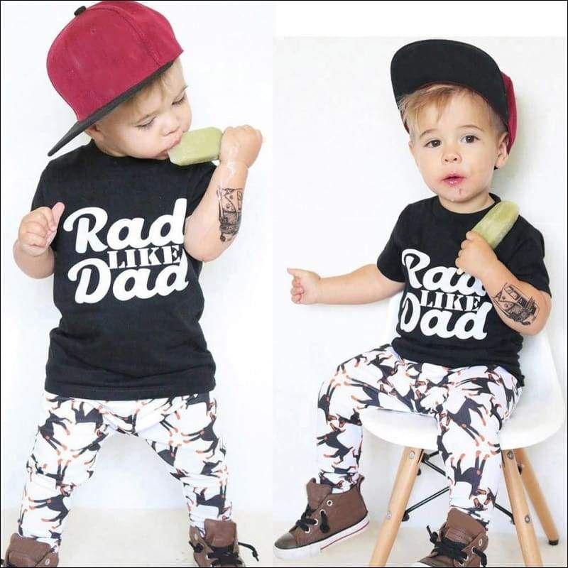 1a6ff1d40 Toddler Baby Kids Boy Print Tops Shirt Pants Outfit Set Clothes ...