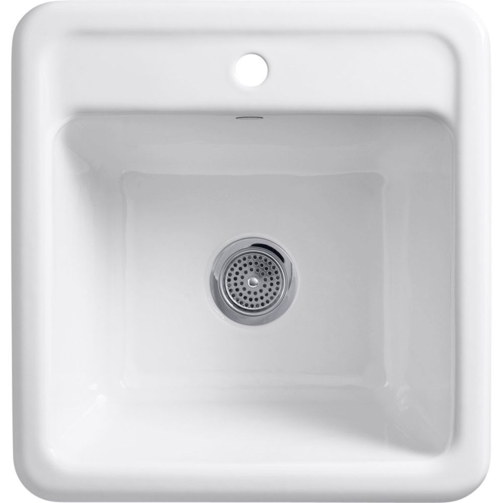 Kohler K 19022 1 0 Park Falls White Single Bowl Laundry Utility