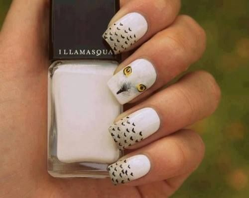 Love The Feathers Not Loving The Owl Face Nail Ideas Pinterest