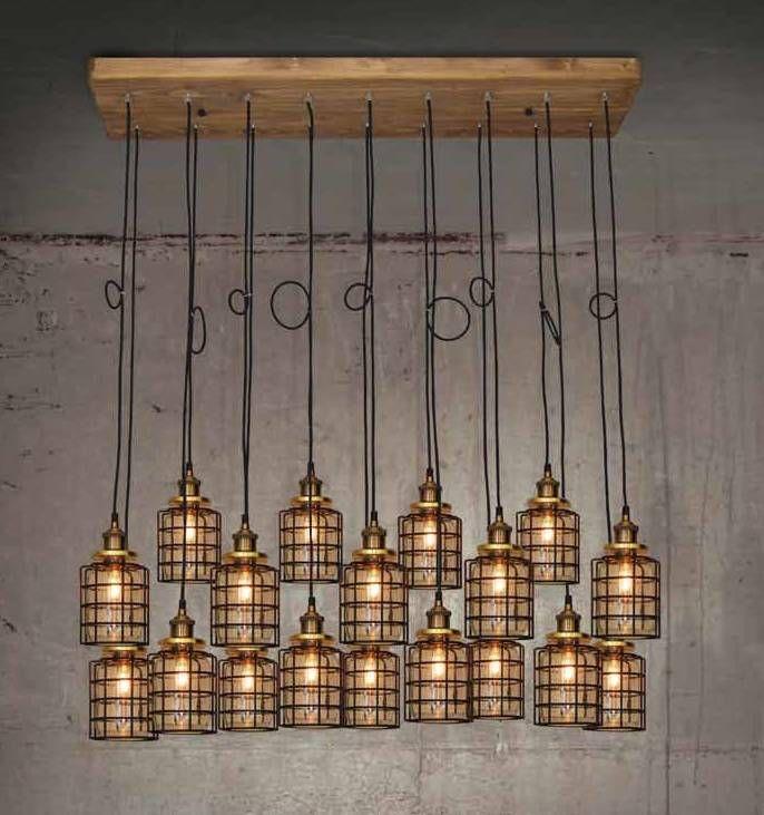 Industrile hanglamp hout met 18 glazen lampenkappen met