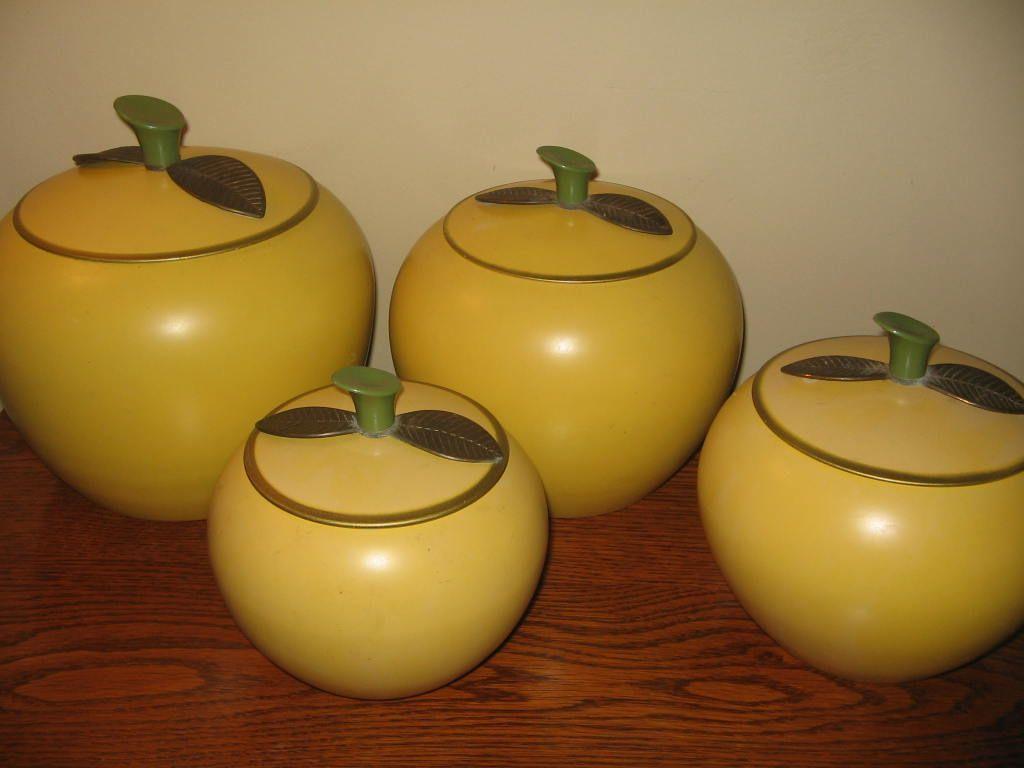 Retro Aluminum Golden Apple Canister Set 8 Pieces Vintage Canisters Canister Sets Kitchen Canisters
