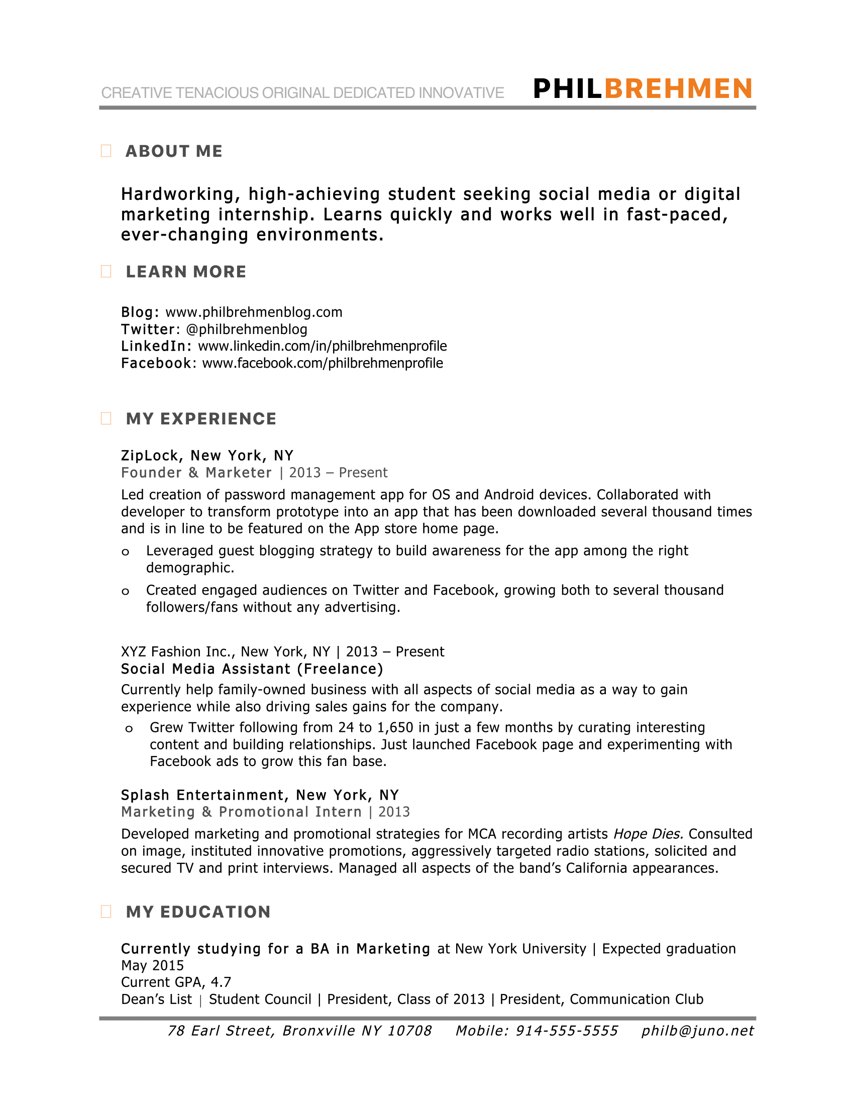 Inbound Marketing Intern-resume-sample | school | Pinterest