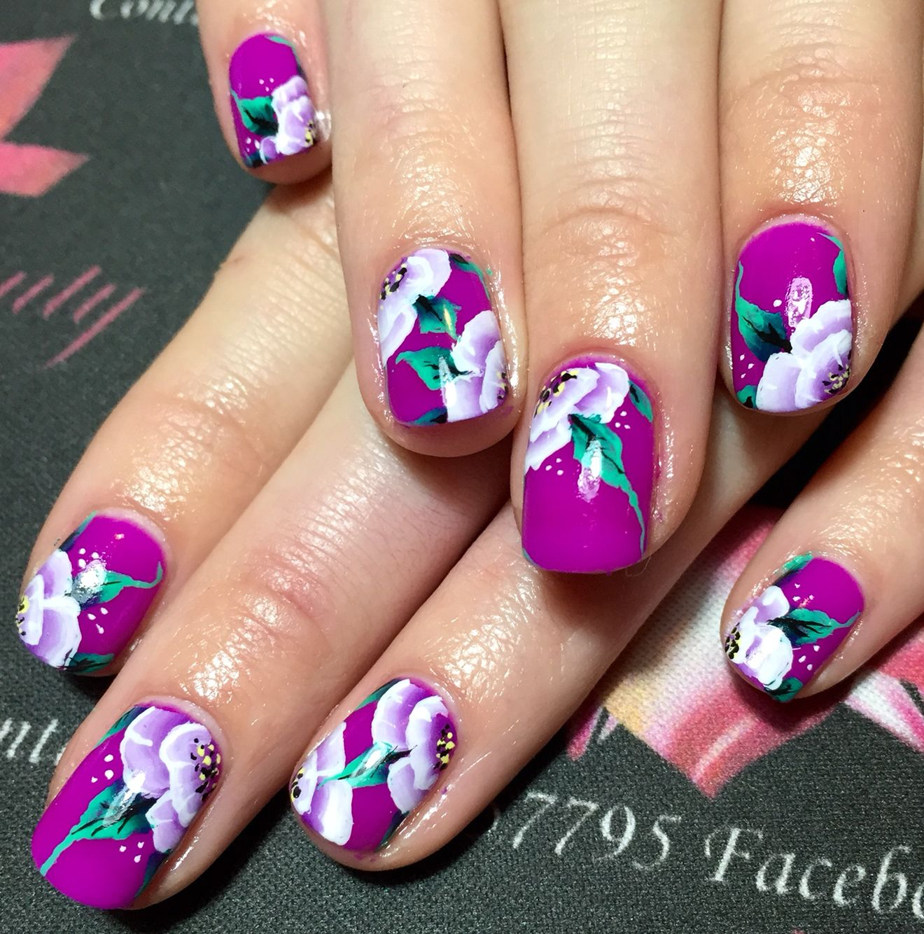 One Stroke Nail Art Design Purple Nails Flower Nail Art Natural