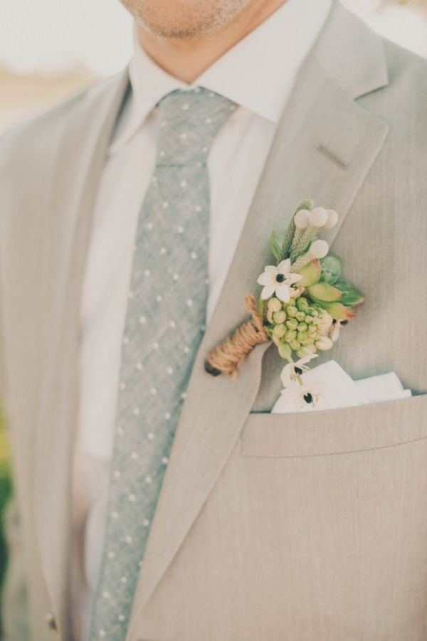 simple succulent boutonniere wrapped with twine