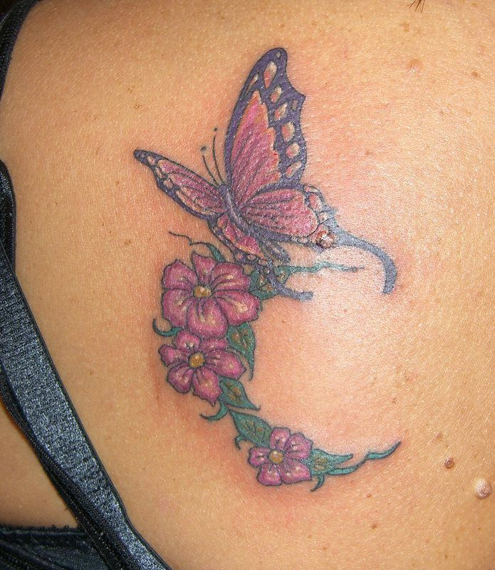 butterfly tatoos Butterfly On Flowers Tattoo Image