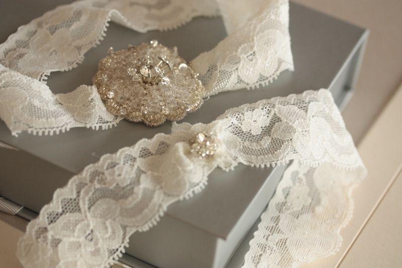 Millie Icaro Bridal Garter Set - Floral with ivory lace - FLOWER