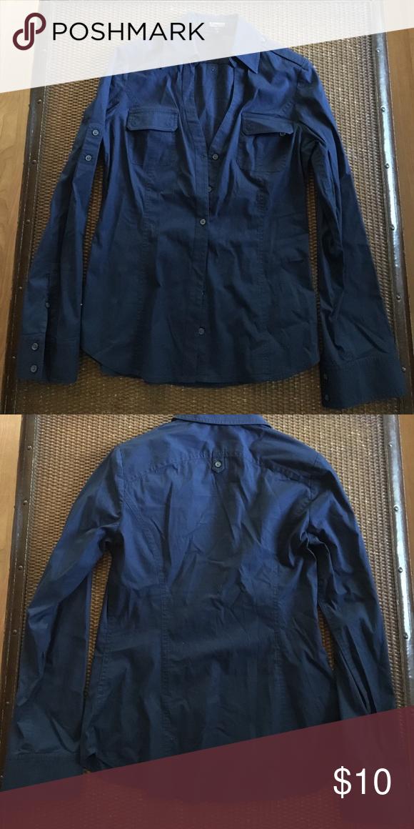 Navy long sleeve dress shirt/ business wear v-Neck button up w/ collar. Worn 2x Express Tops Blouses