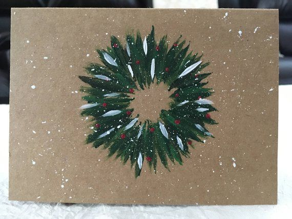 Christmas wreath hand-painted card | Etsy