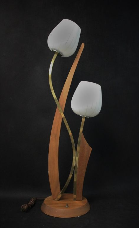 Vintage 1960u0027s Teak U0026 Brass Tulip Table Lamp