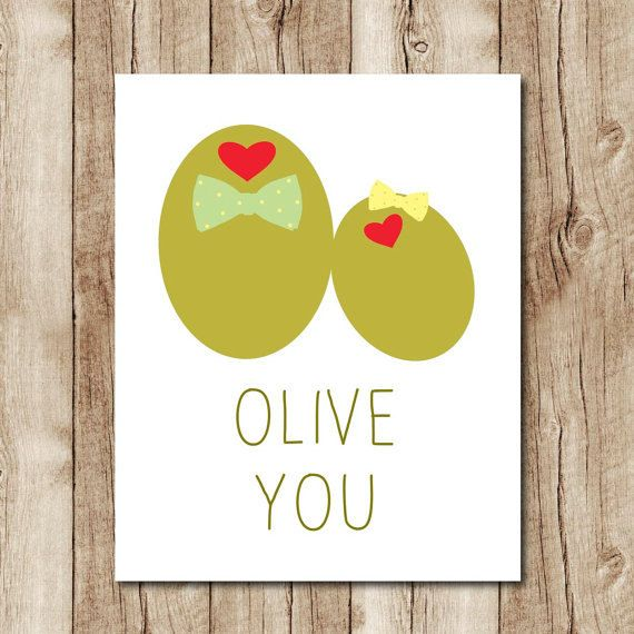 olive you printable funny love card download cute anniversary card - free printable anniversary cards for her