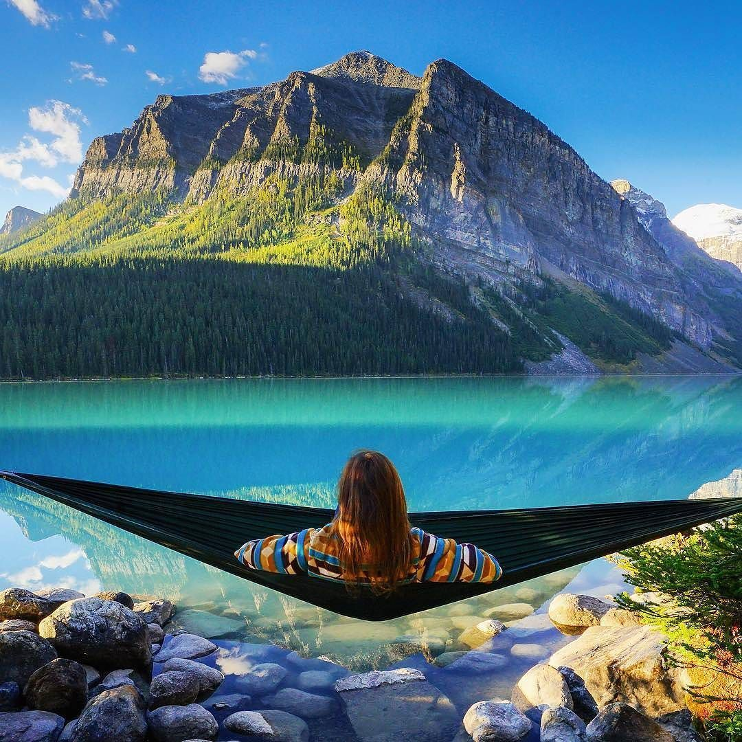 escape your cave  hammock relaxation in lake louise alberta canada escape your cave  hammock relaxation in lake louise alberta      rh   pinterest