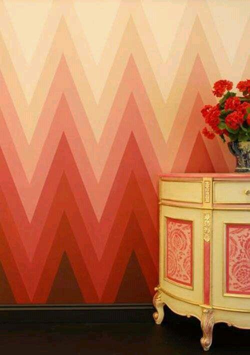 Gradation In Interior Design chevron wall gradation | interior design | pinterest | walls