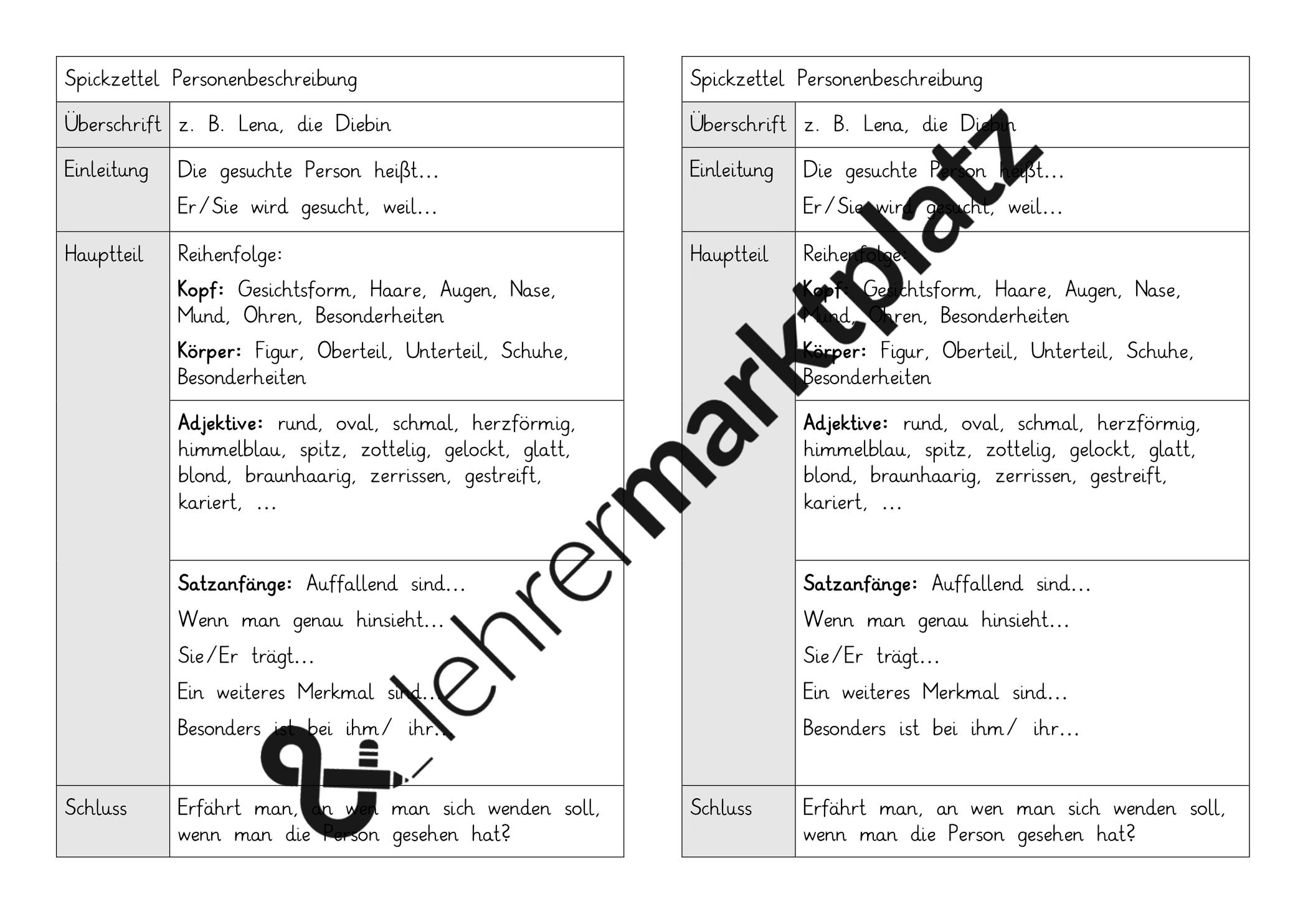 Spickzettel Fur Eine Personenbeschreibung Unterrichtsmaterial Im Fach Deutsch Personenbeschreibung Spickzettel Satzanfange