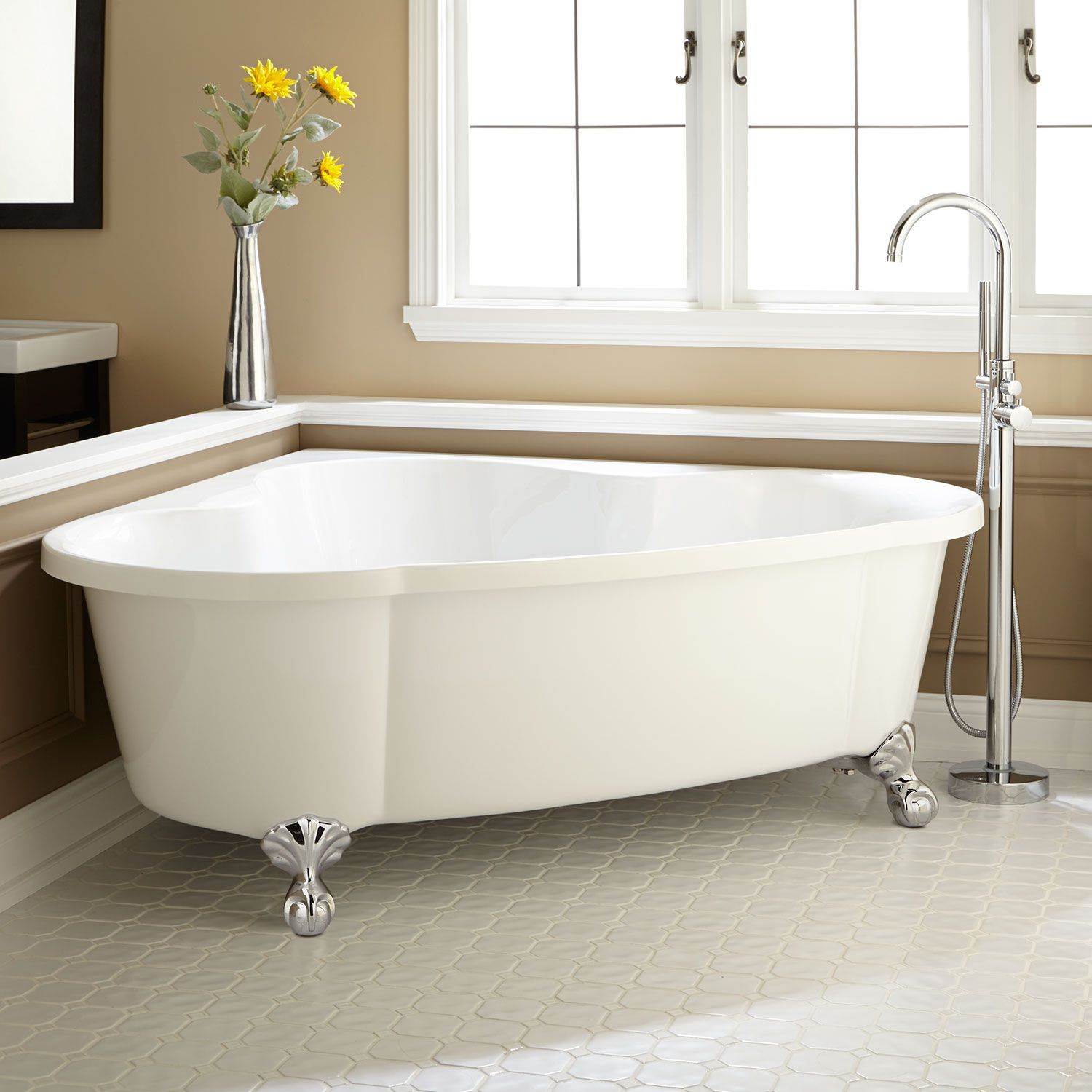 Add A Contemporary Touch To Your Bathroom With The Talia Corner Acrylic Tub.  Perfect For A Master Bath Suite Or Guest Bath, This Tub Rests On Ball U0026  Claw ...