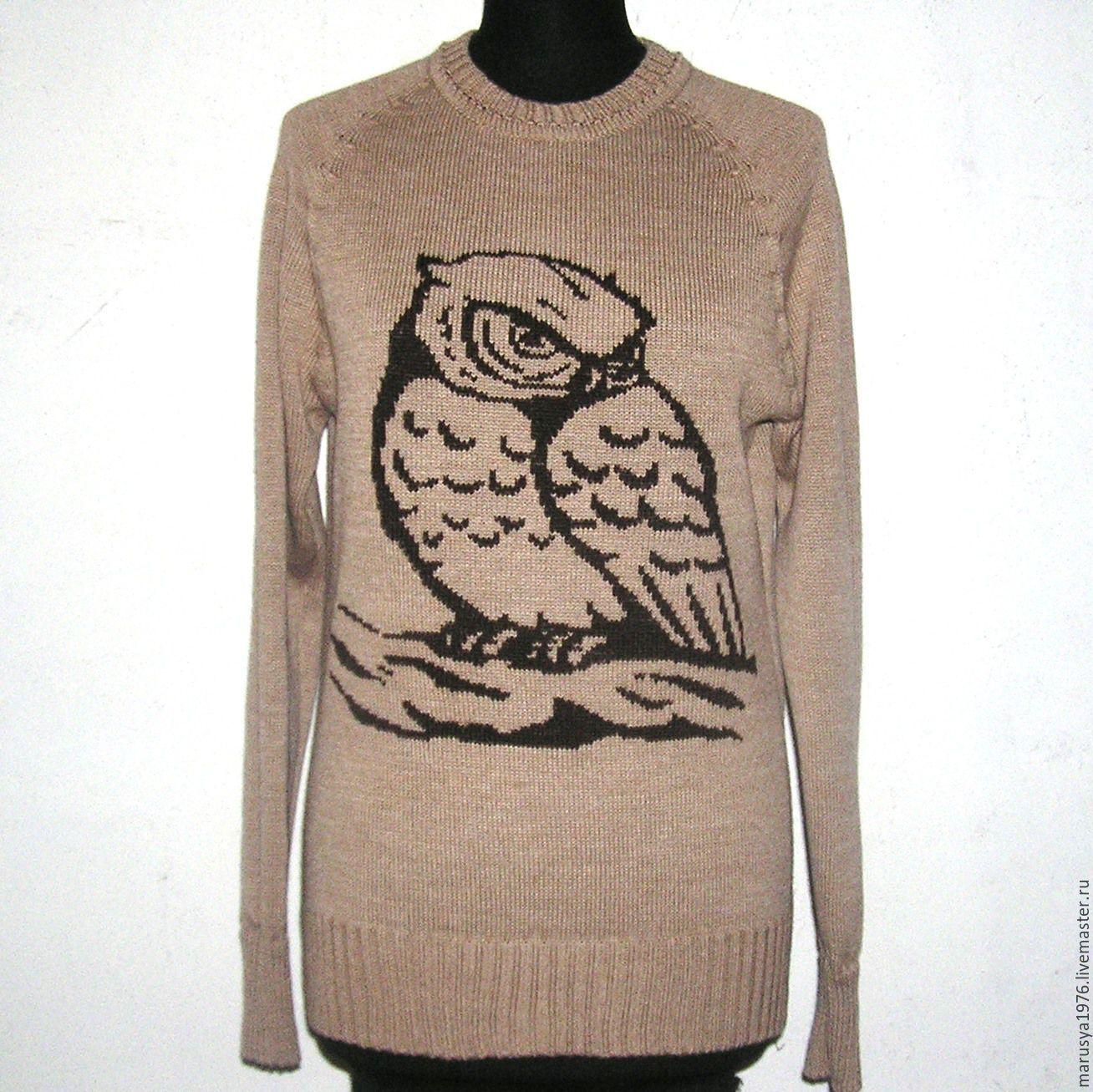 Вышивка совы на свитере