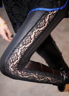 New-Sexy-Women-Black-Laced-Fashion-Tight-Legging-Pants