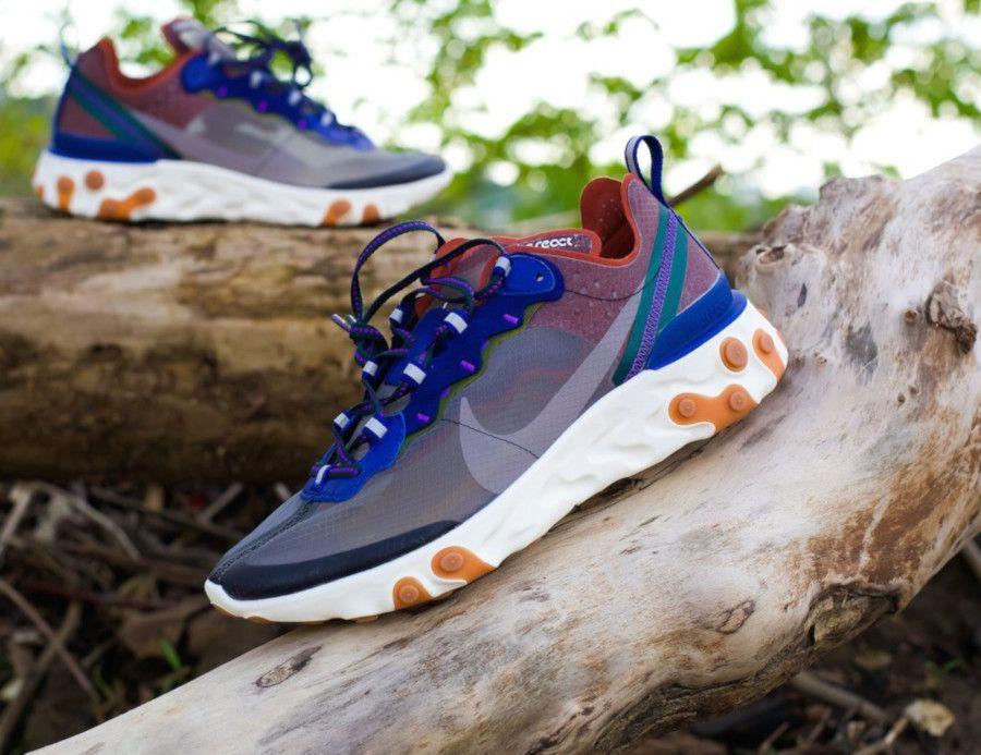 classic shoes stable quality latest Nike React Element 87 marron violet et bleu (2019) | Nike acg ...