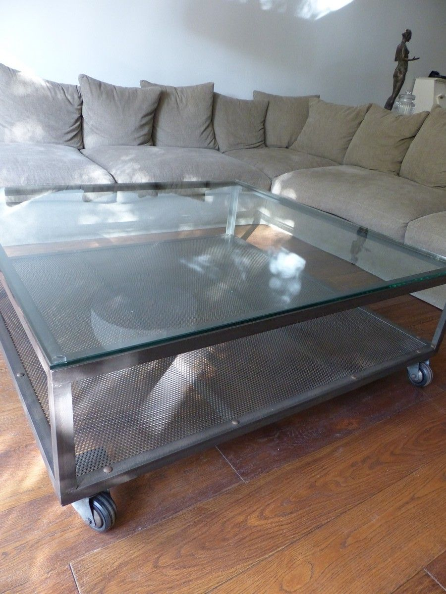 Table Basse Industrielle Acier Et Verre Table Basse Acier Table Basse Table Basse Industrielle