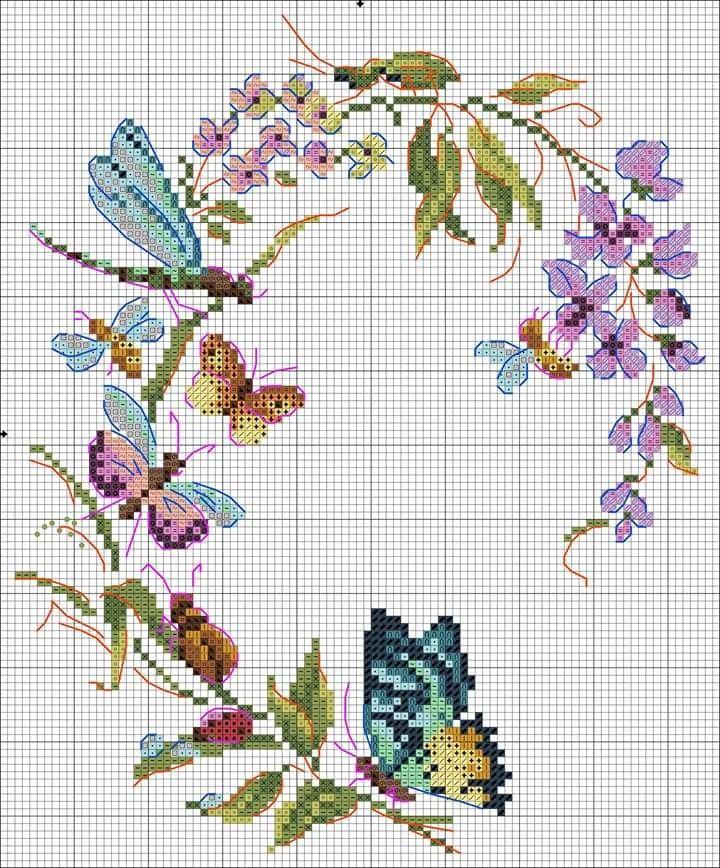Aguja mágica punto de cruz-mariposas Y Rosas