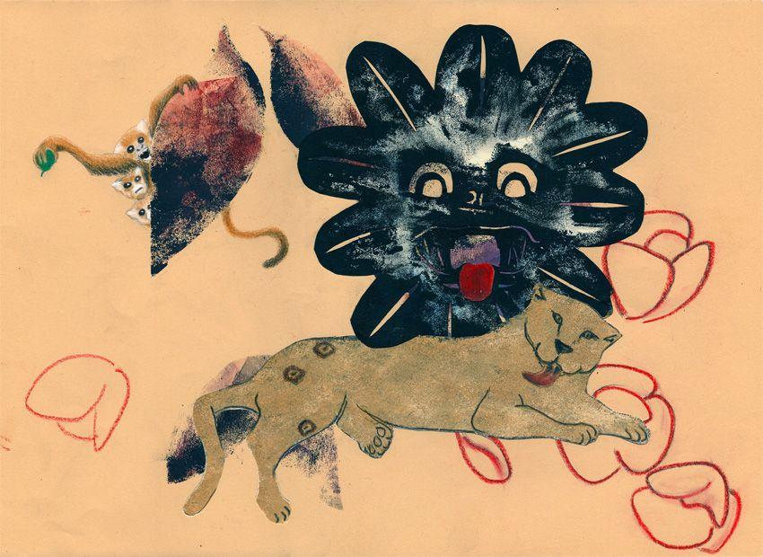 """""""Il giaguaro 2"""" collage e monotipia su carta da spolvero"""