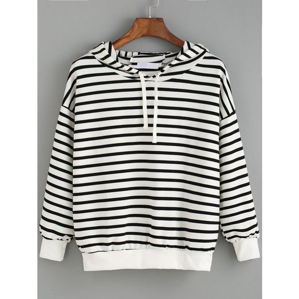 Hooded Striped Black and White Sweatshirt (105 NOK) ❤ liked on Polyvore featuring tops, hoodies, sweatshirts, black and white, pullover hoodie sweatshirt, hoodie sweatshirts, pullover hoodies, hooded pullover and striped pullover hoodie