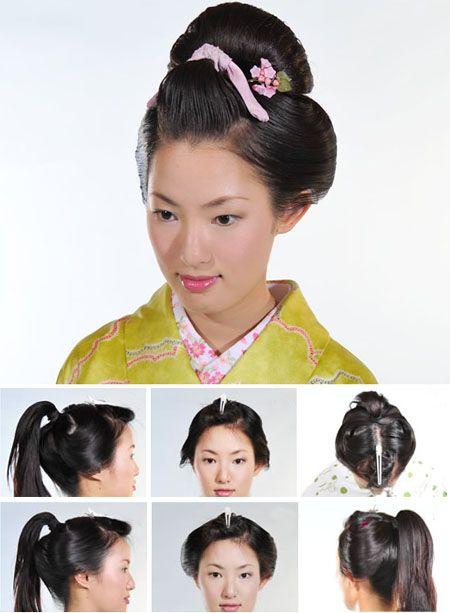 ca7534973 More maiko hair tutorials (in Spanish) Geisha Makeup, Geisha Hair, Zombie  Hair