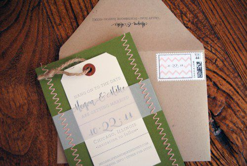 Megan + Mike's Chevron Stripe and Stitched Save the Dates   Ruby the Fox Design