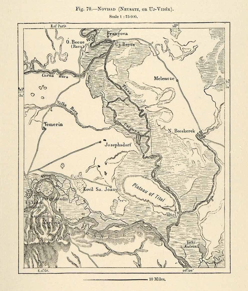 1882 Relief Line-block Map Novisad Neusate Uj-Videk Melencze Plateau Titel XGS6
