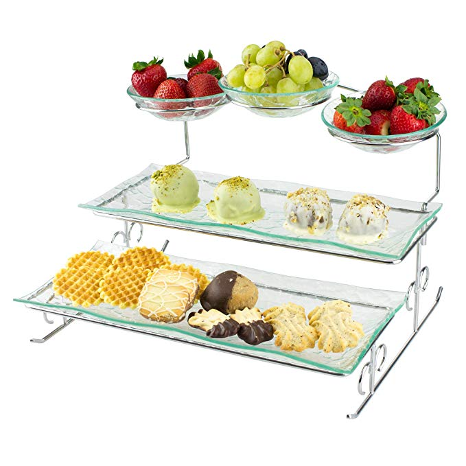 Amazon Com 3 Tier Server Stand With Trays Bowls Tiered Serving Platter Perfect For Cake Dessert Tiered Serving Platters Tiered Server Serving Platters