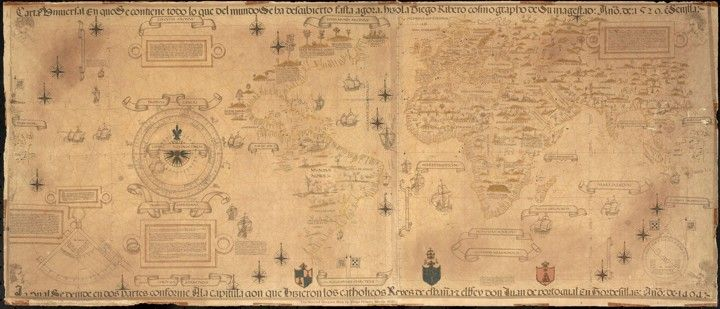 The world map of diogo ribeiro integrates the wealth of new the world map of diogo ribeiro integrates the wealth of new information provided by european explorers gumiabroncs Image collections