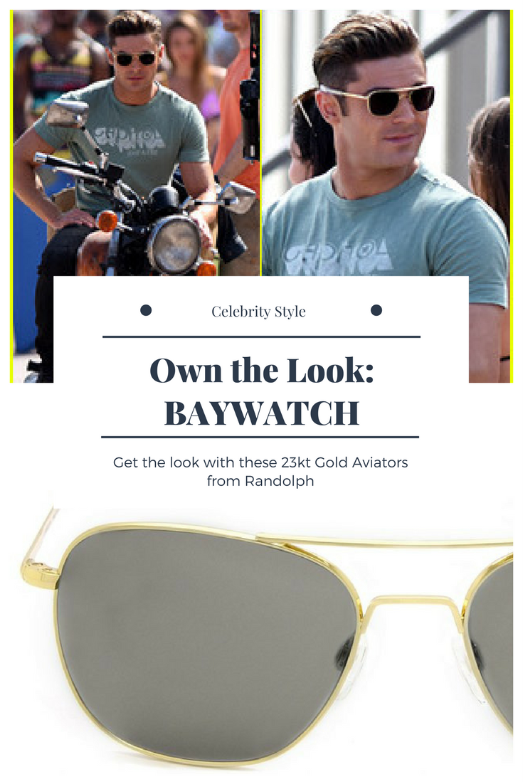Get Zac Efron s look in Baywatch with these Gold Aviator Sunglasses from  Randolph. photo  Just Jared Jr ea7fe4cf6611