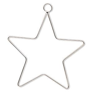 Ornament frame, steel wire, 4-inch star. Sold per pkg of 2