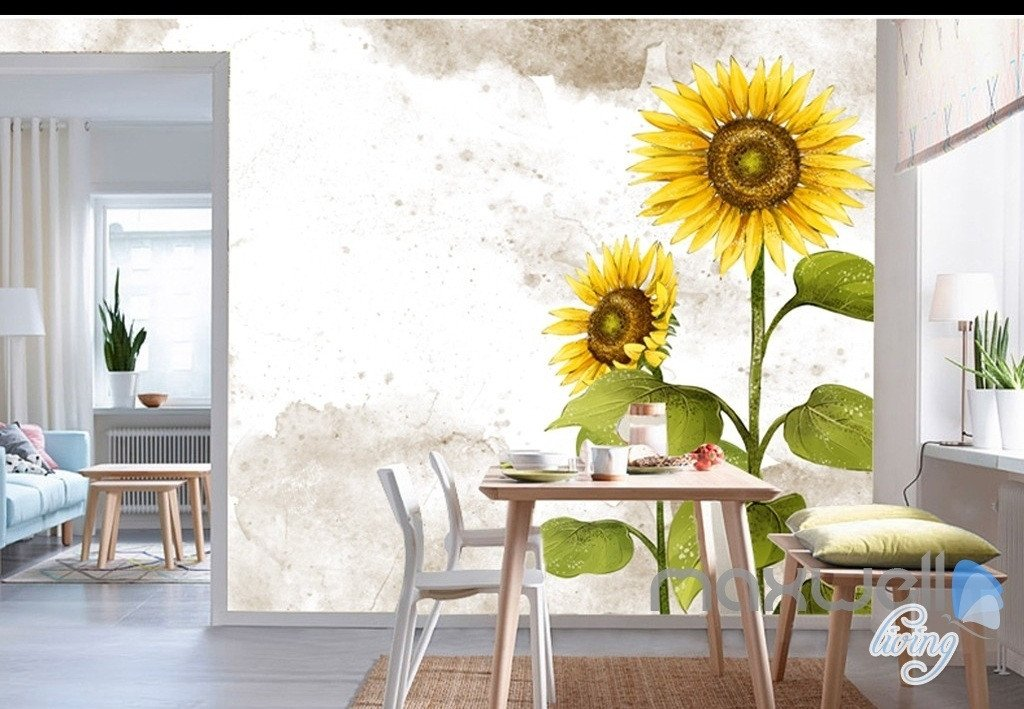 Colorful Field Flora Repositionable wall mural #95 Retro Sunflowers Removable Wallpaper