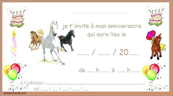 carte invitation anniversaire cheval a