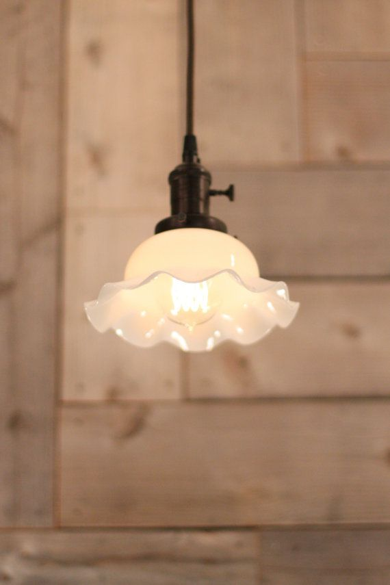 reproduction pendant lighting with vintage ruffle edge shade