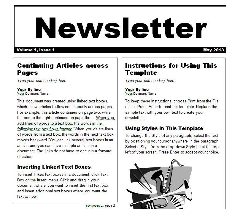 Free newsletter template Newsletter Tools Pinterest - newsletter templates word 2007