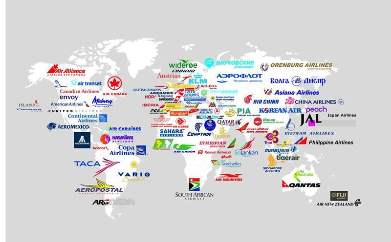 La carte du monde de toutes les compagnies Aériennes ...