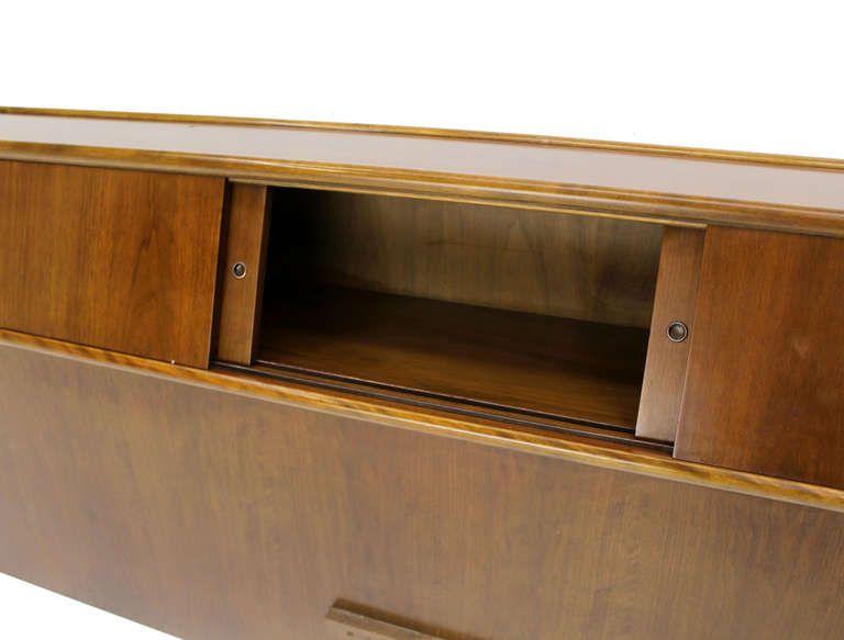 Mid Century Modern Walnut King Headboard With A Sliding Door Cabinet 1stdibs Com Bookcase Headboard Upcycle Headboard Mid Century Headboard