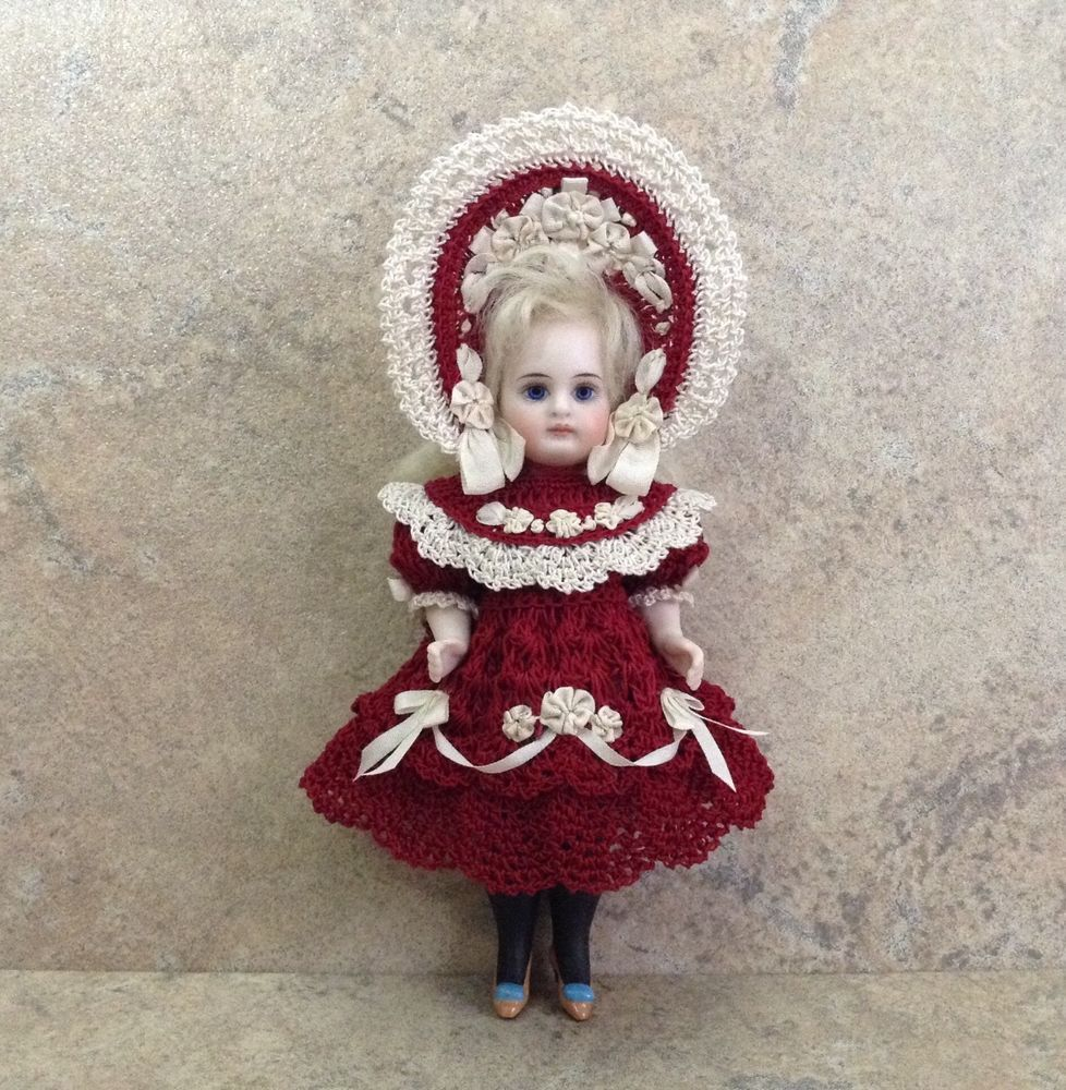 VICTORIAN STYLE CROCHETED DRESS SET FOR A 5 ALL BISQUE DOLL*by Tina #dollvictoriandressstyles