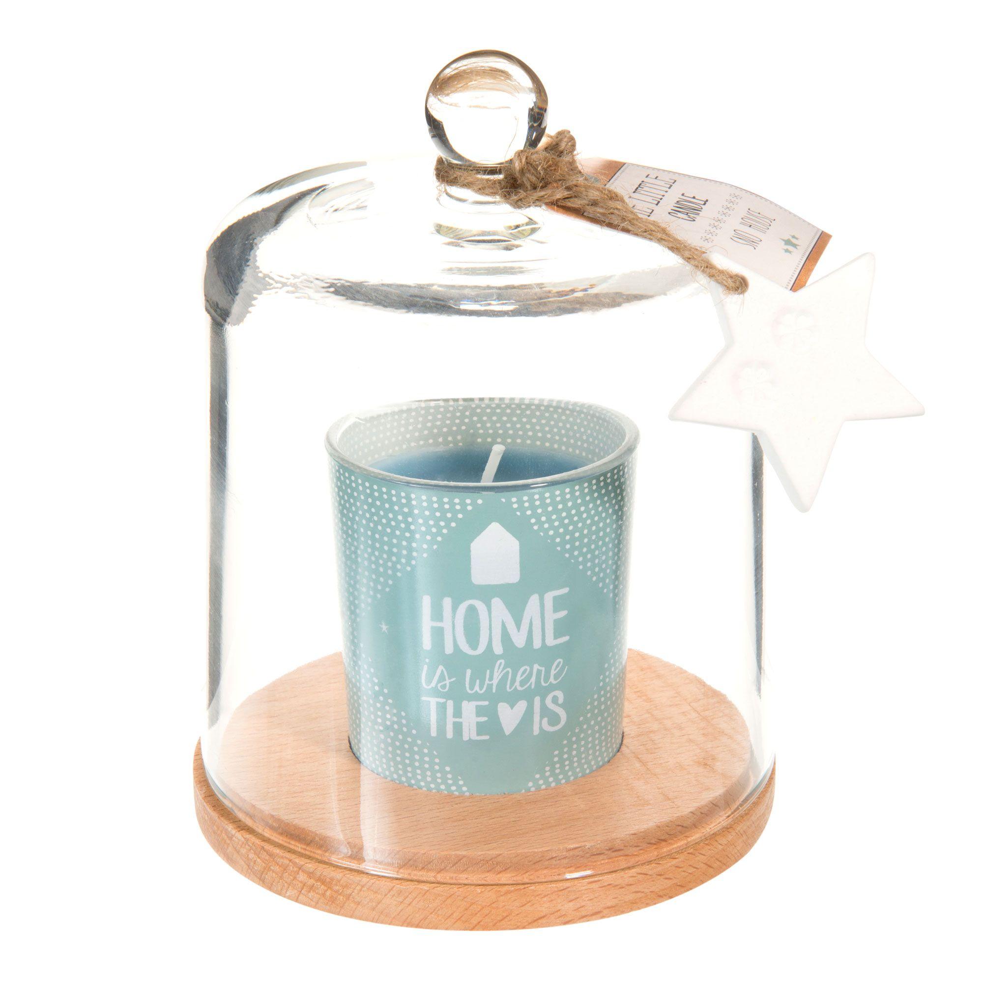 bougie sous cloche en verre bleue h 15 cm toile polaire. Black Bedroom Furniture Sets. Home Design Ideas