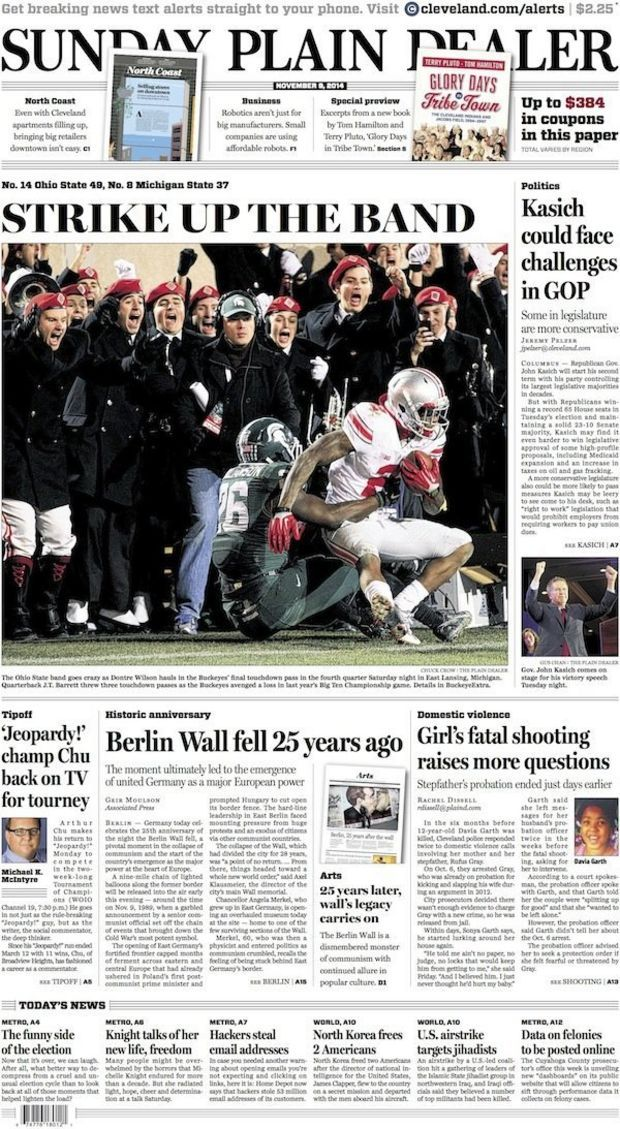 The Plain Dealer's front page for November 9, 2014