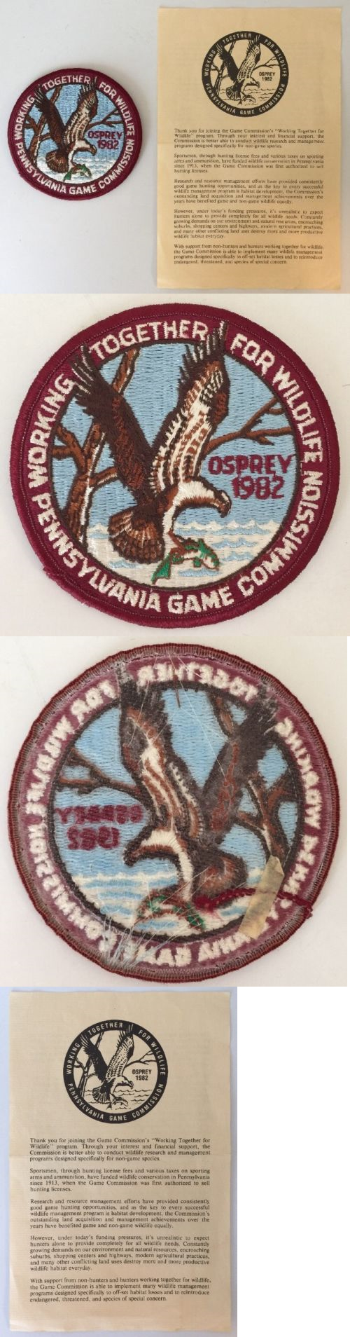 Patches 113337: 1982 Osprey Working Together For Wildlife
