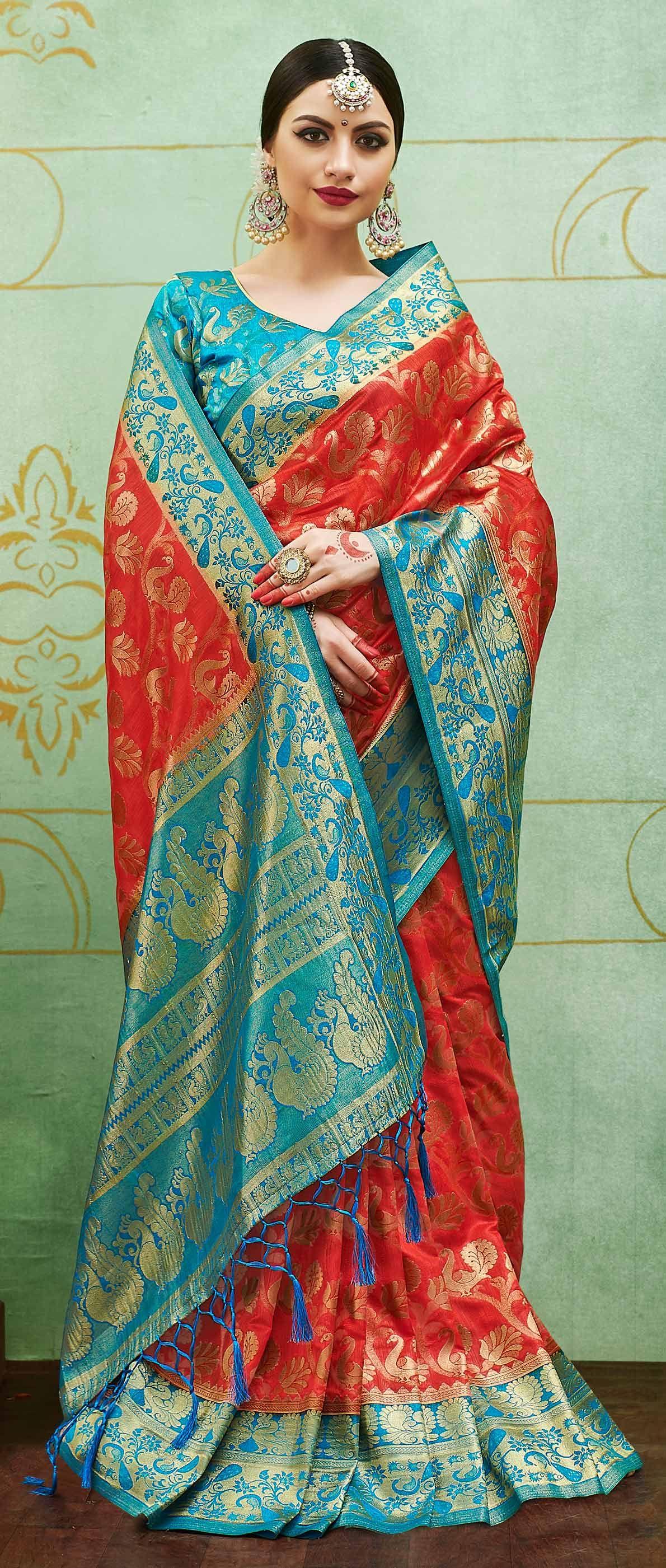 6d61089535a39 Buy Red-Blue Colored Designer Festive Wear Banarasi Silk Saree Online India