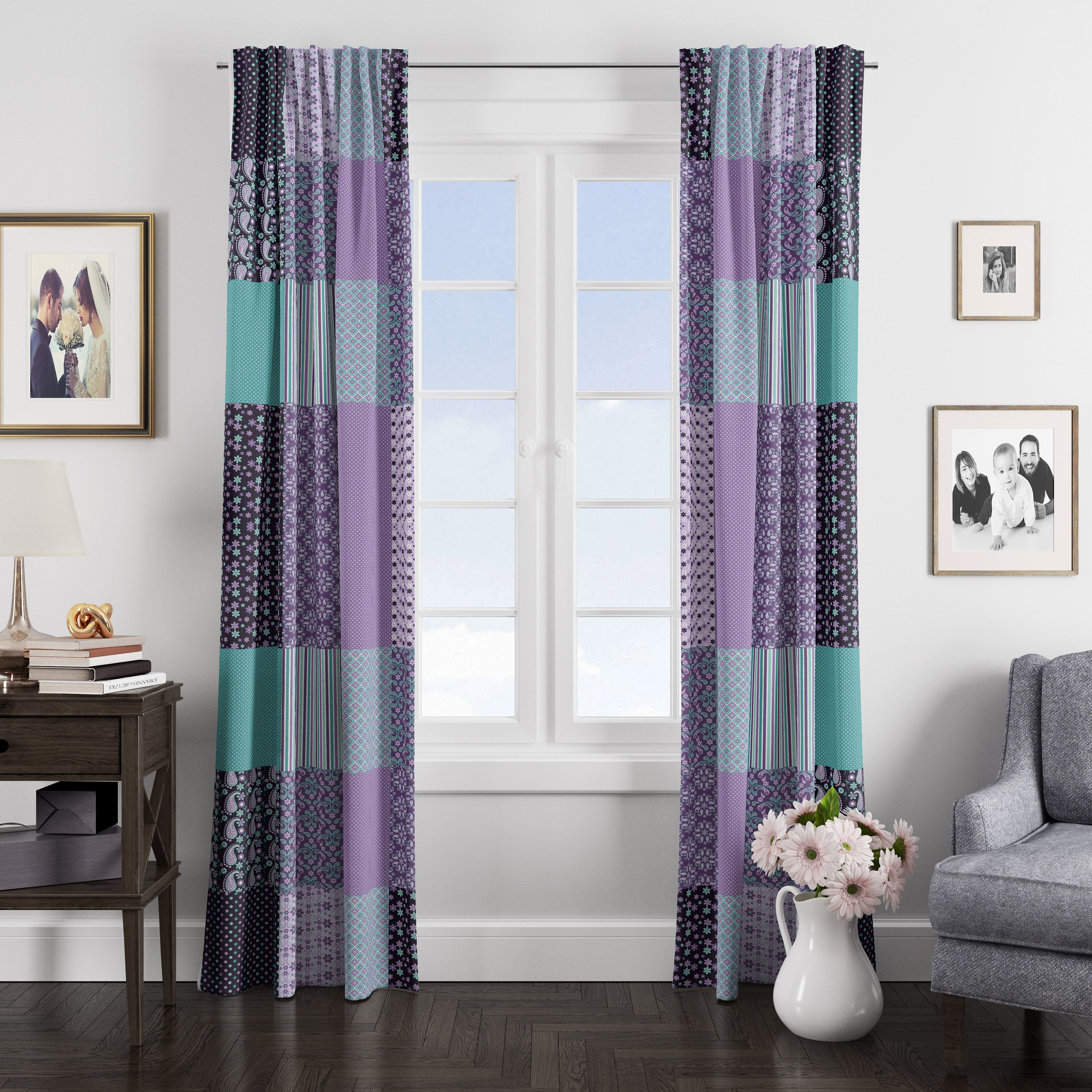 Faux Patchwork Boho Window Curtains In 2020 White Paneling