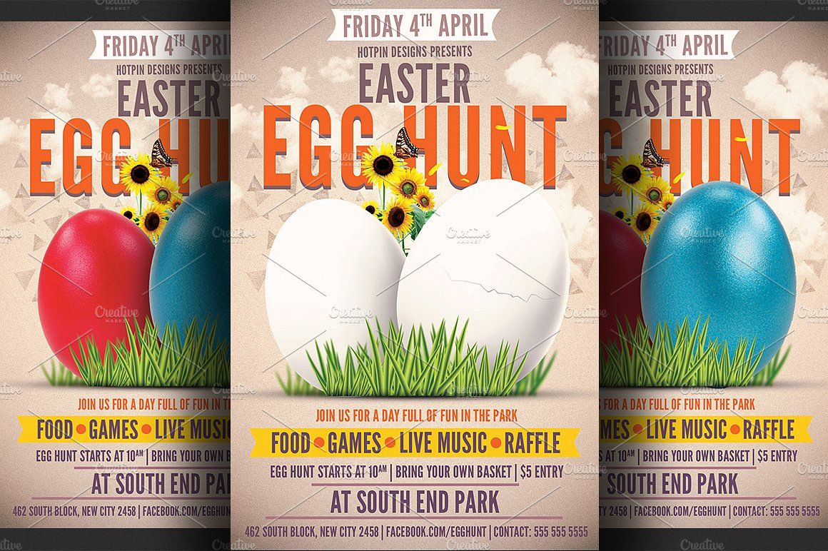 Easter Egg Hunt Flyer Template  Flyer Template Easter And Egg